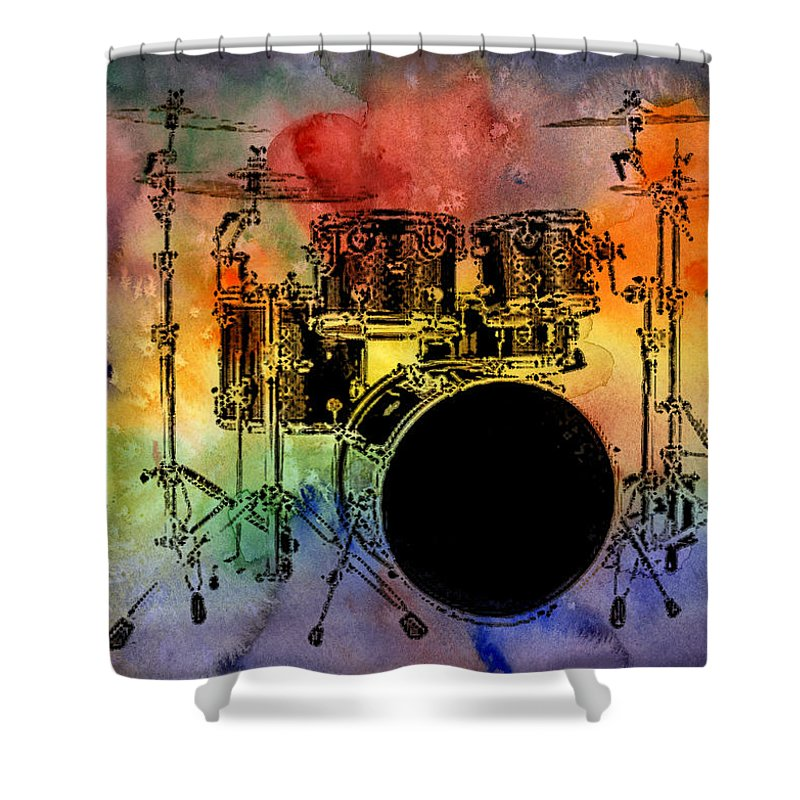 Drums Shower Curtain featuring the photograph Psychedelic Drum Set by Athena Mckinzie