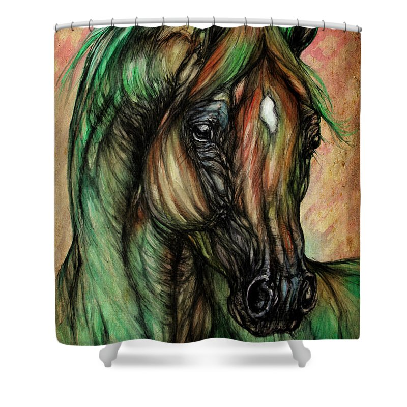 Horse Shower Curtain featuring the painting Psychedelic Green And Pink by Angel Ciesniarska