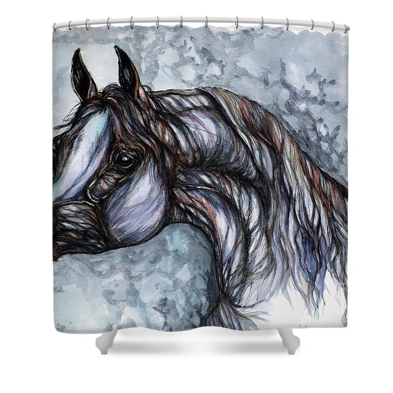 Horse Shower Curtain featuring the painting Psychedelic Grey And Blue by Angel Ciesniarska