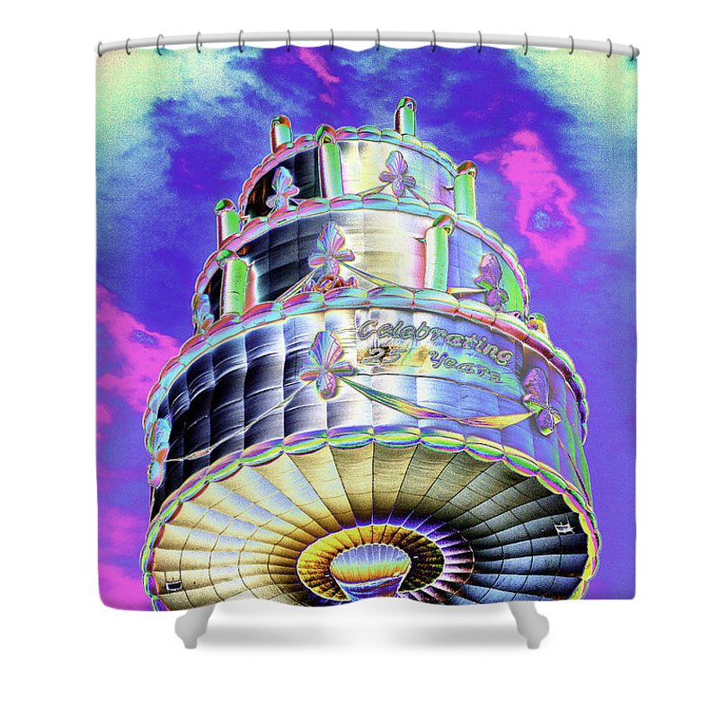 Psychedelic Shower Curtain Featuring The Photograph Hot Air Balloon Birthday Cake Celebrating 25 Years By