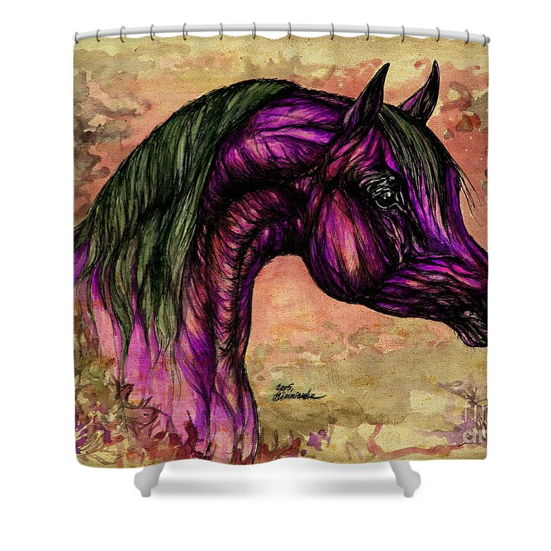 Horse Shower Curtain featuring the painting Psychedelic Purple by Angel Ciesniarska