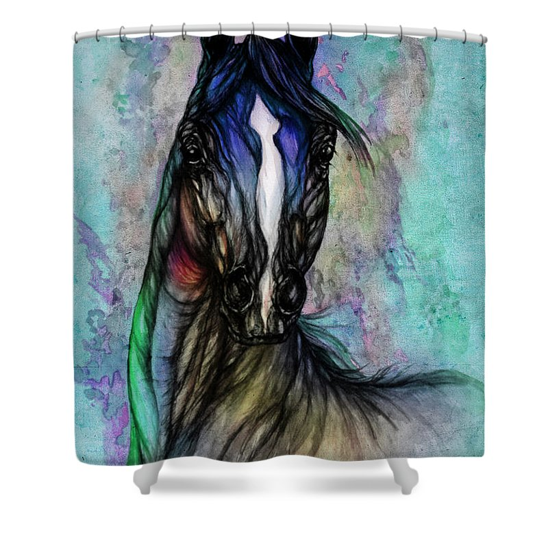 Horse Shower Curtain featuring the painting Psychodelic Blue And Green by Angel Ciesniarska