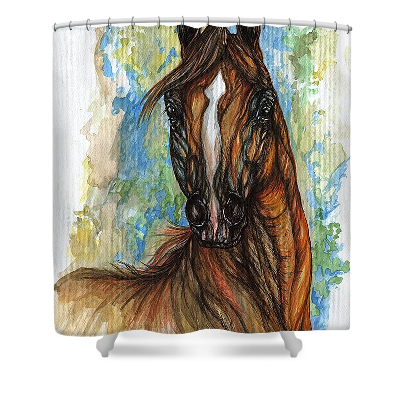 Psychodelic Shower Curtain featuring the painting Psychodelic Chestnut Horse Original Painting by Angel Ciesniarska