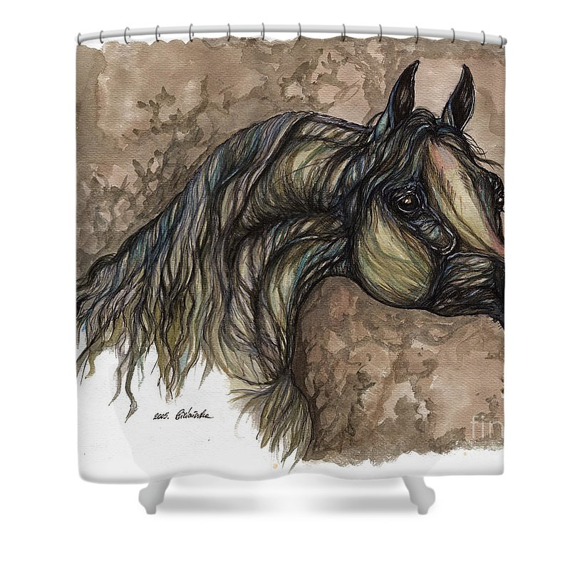 Psychodelic Shower Curtain featuring the painting Psychodelic Grey Horse Original Painting by Angel Ciesniarska