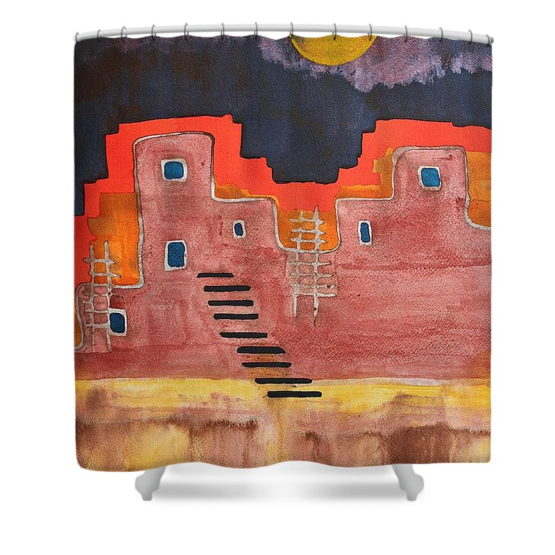 Pueblo Shower Curtain featuring the painting Pueblito Original Painting by Sol Luckman