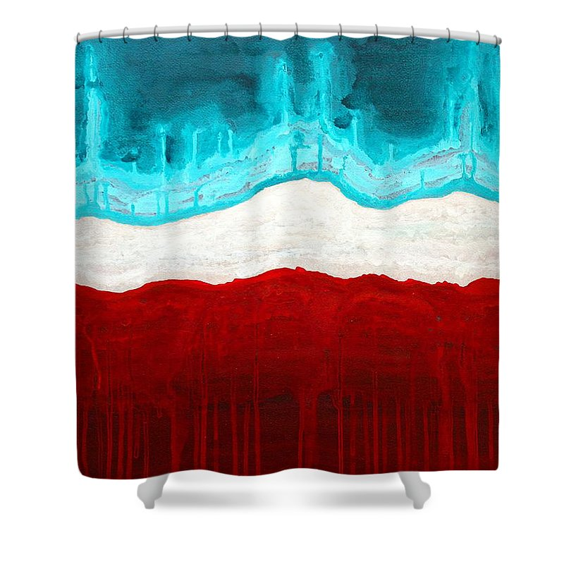 Native American Shower Curtain featuring the painting Pueblo Cemetery Original Painting by Sol Luckman