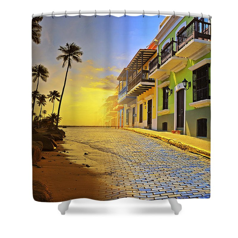 Puerto Rico Shower Curtain featuring the photograph Puerto Rico Collage 2 by Stephen Anderson