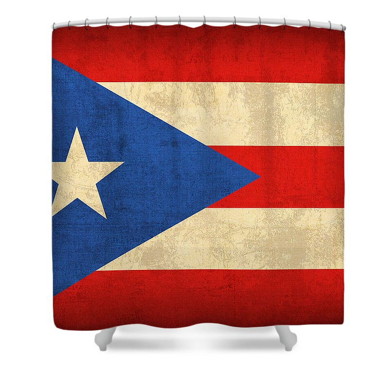 Puerto Shower Curtain Featuring The Mixed Media Rico Flag Vintage Distressed Finish By Design Turnpike