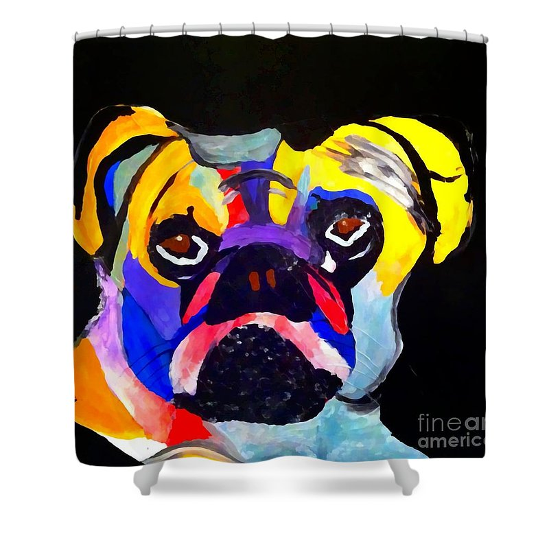 Pug Power Pop Shower Curtain featuring the painting Pug Power Pup I by Saundra Myles