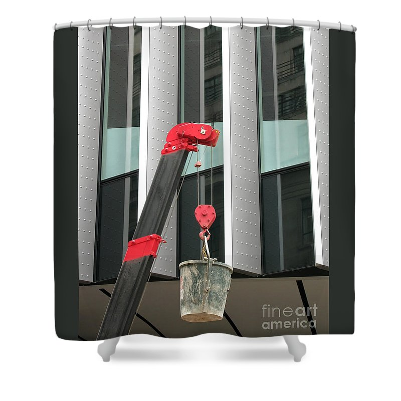 Pulley Shower Curtain featuring the photograph Pulley And Pail by Ann Horn