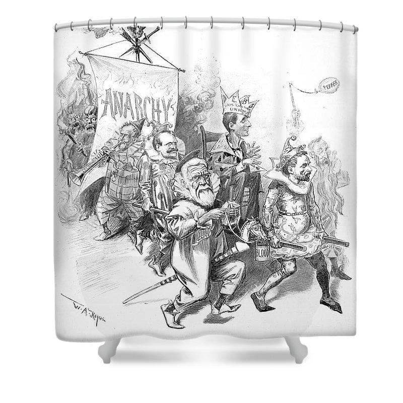 1894 Shower Curtain Featuring The Painting Pullman Strike Cartoon By Granger
