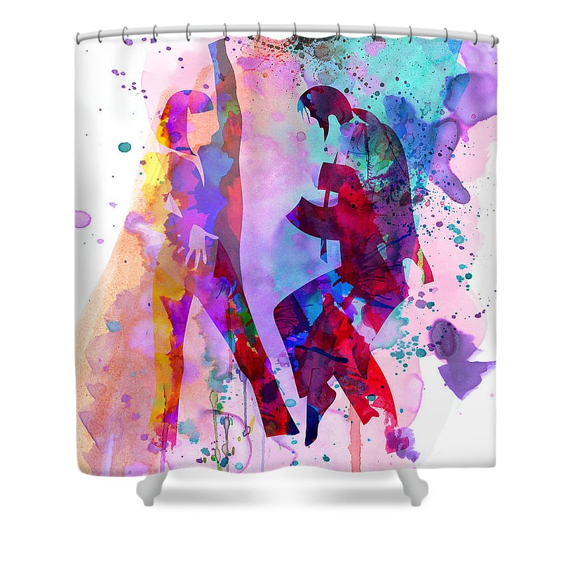 Pulp Fiction Shower Curtain featuring the painting Pulp Watercolor by Naxart Studio