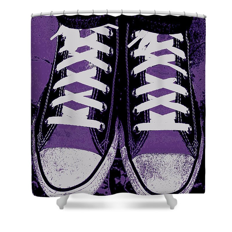 Pumped Up Purple Shower Curtain featuring the photograph Pumped Up Purple by Edward Smith