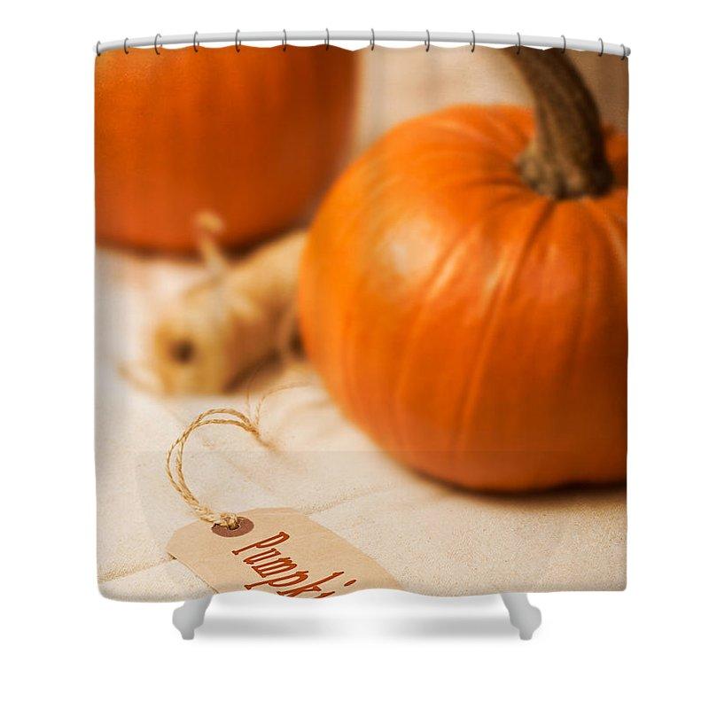 Pumpkin Shower Curtain featuring the photograph Pumpkin Label by Amanda Elwell