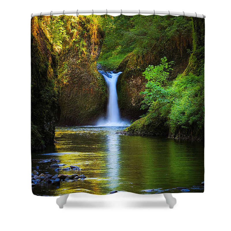 America Shower Curtain featuring the photograph Punchbowl Falls by Inge Johnsson