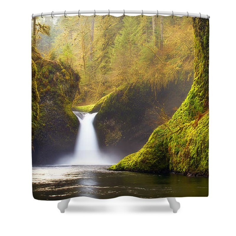 Lush Shower Curtain featuring the photograph Punchbowl Pano by Darren White