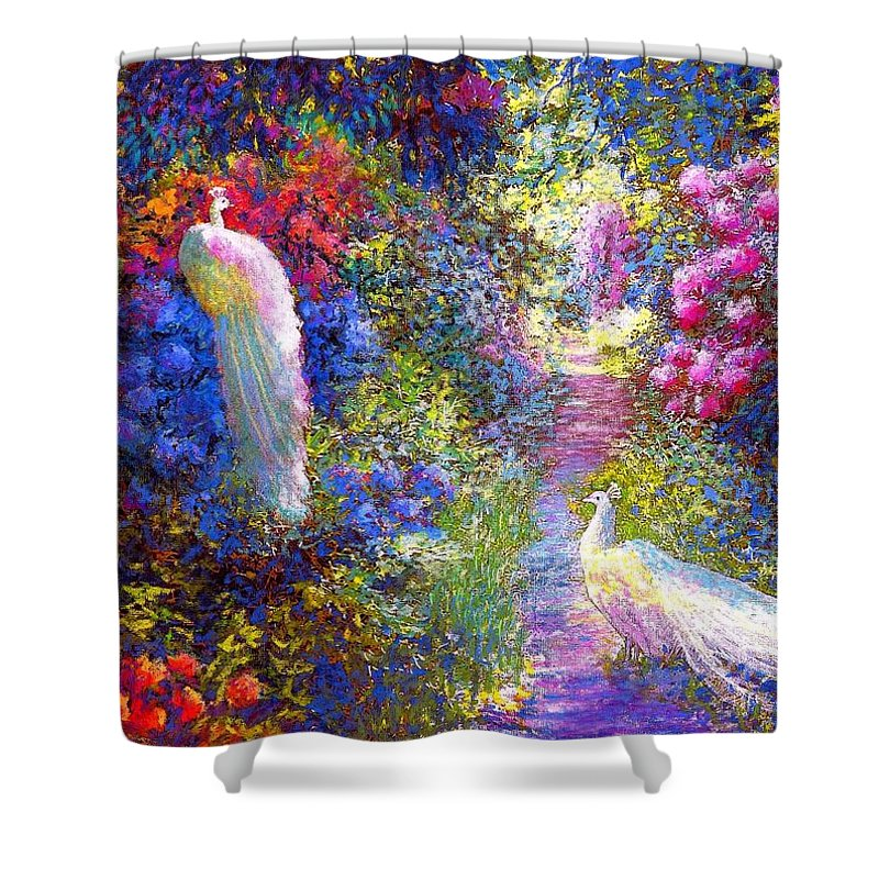 Sun Shower Curtain featuring the painting White Peacocks, Pure Bliss by Jane Small