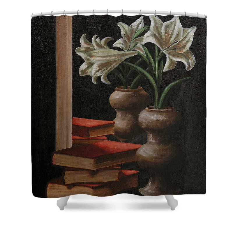 Still Life Shower Curtain featuring the painting Pure Love by Andreja Dujnic