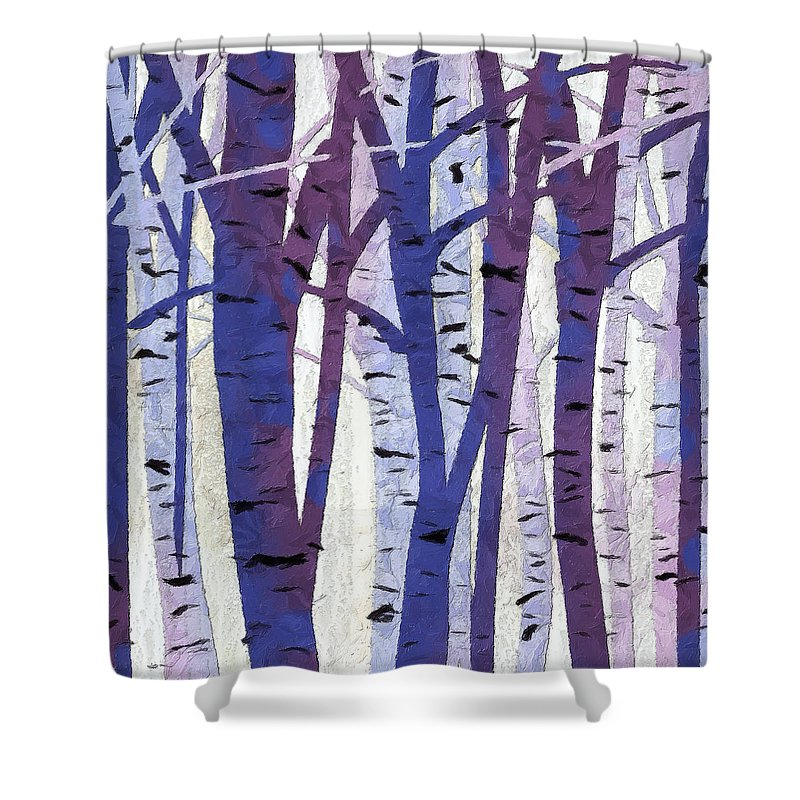 Plum Art Shower Curtain Featuring The Painting And Blue Birch Trees