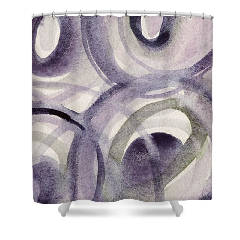 Purple And Green Circles Abstract Panoramic Painting Shower Curtain ...