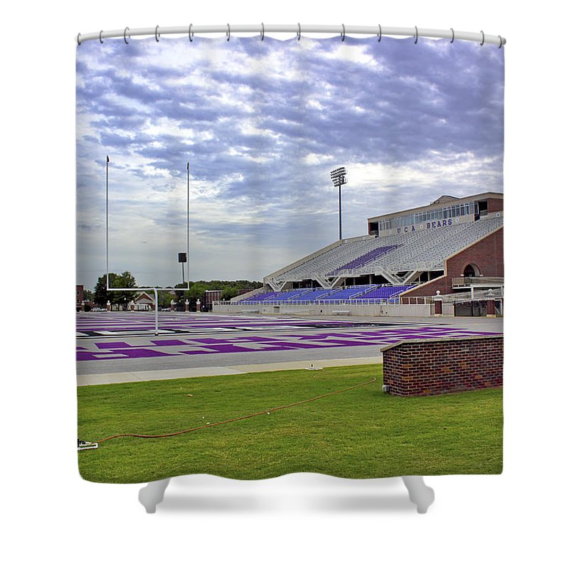 Football Stadium Shower Curtain featuring the photograph Purple And Silver by Jason Politte