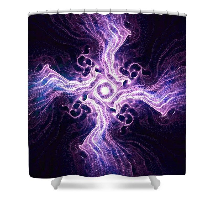 Malakhova Shower Curtain featuring the digital art Purple Cross by Anastasiya Malakhova
