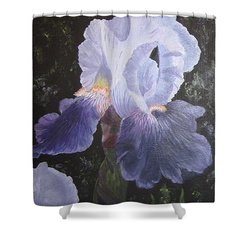 Purple Iris Shower Curtain featuring the painting Purple Elegance by Alicia Fowler