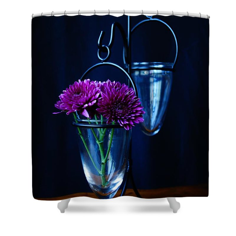 Flower Shower Curtain featuring the photograph Purple Flowers Still Life by Kerri Mortenson