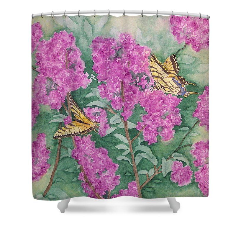Lilacs Shower Curtain featuring the painting Purple Haze Cafe by Rhonda Leonard