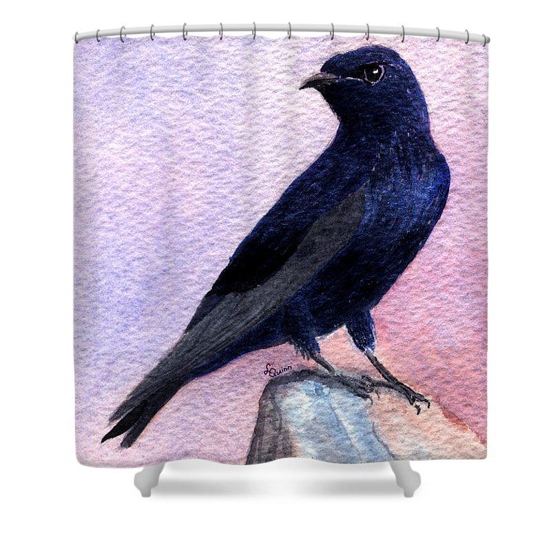 Bird Shower Curtain featuring the painting Purple Martin by Lynn Quinn