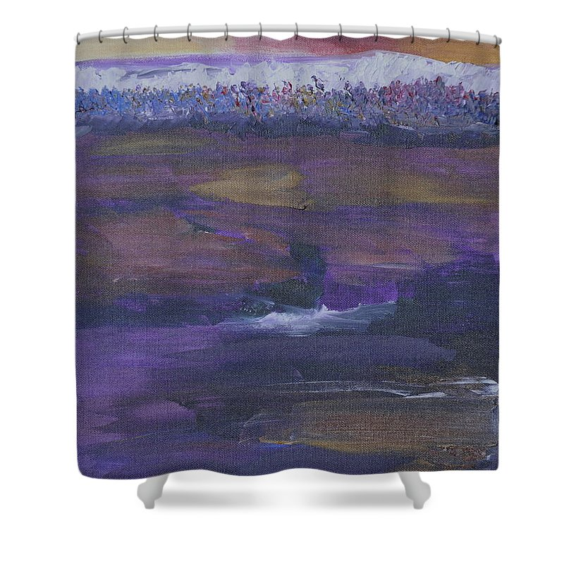 Purple Shower Curtain featuring the painting Purple Ocean by Kimberly Maxwell Grantier
