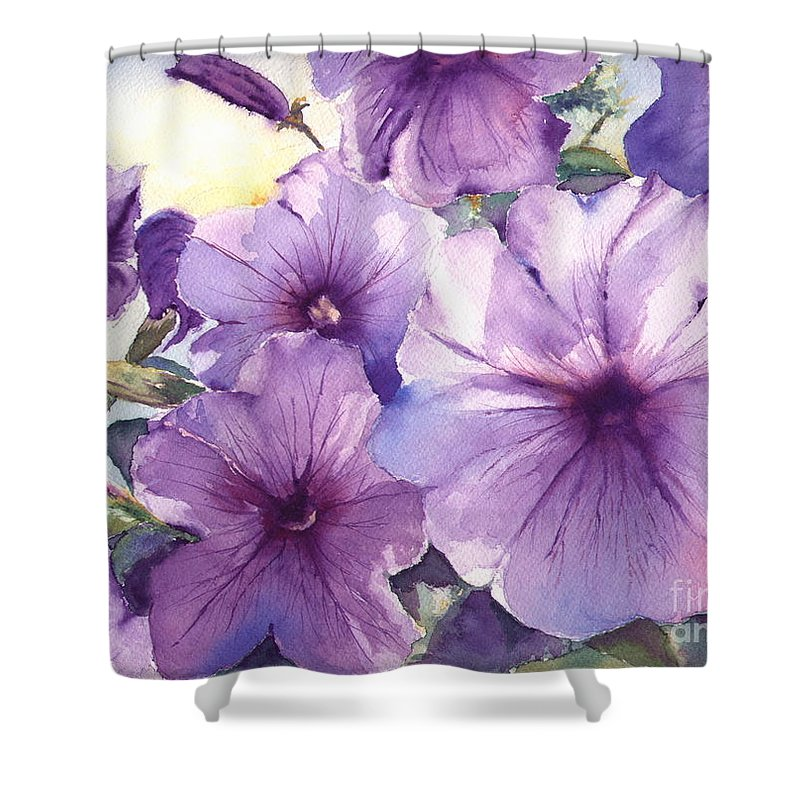 Purple Shower Curtain featuring the painting Purple Profusion by Patricia Henderson