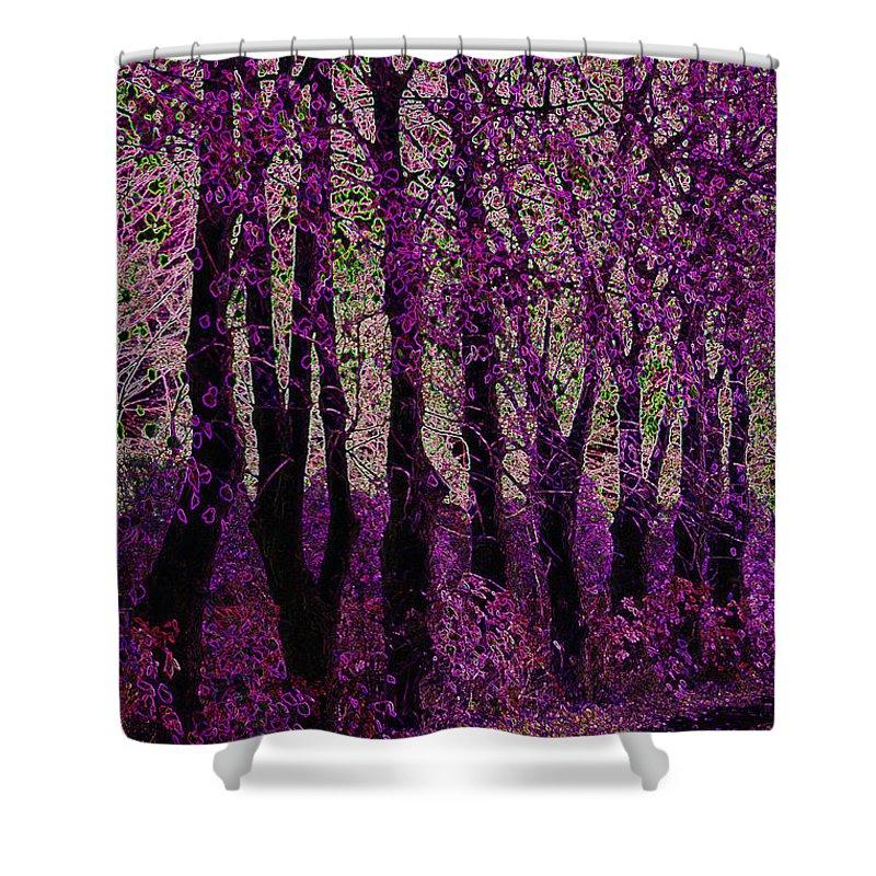 Purple Shower Curtain featuring the digital art Purple Trees by Carol Lynch