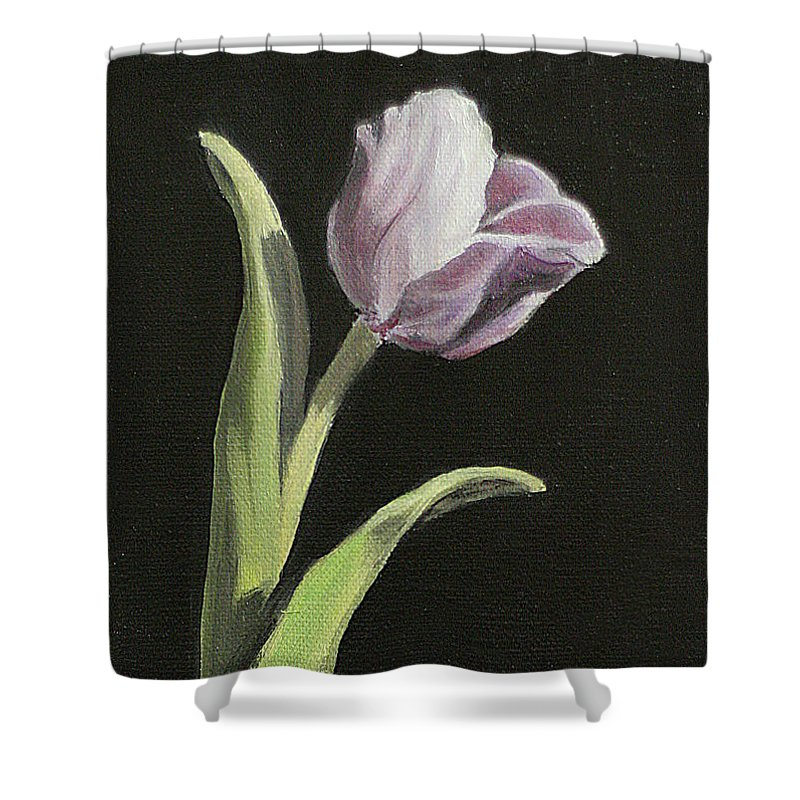 Tulip Shower Curtain featuring the painting Purple Tulip by Sarah Parks