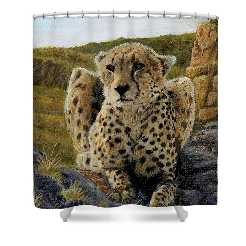 Jaguar Shower Curtain featuring the painting Purrfect View by Sherryl Lapping
