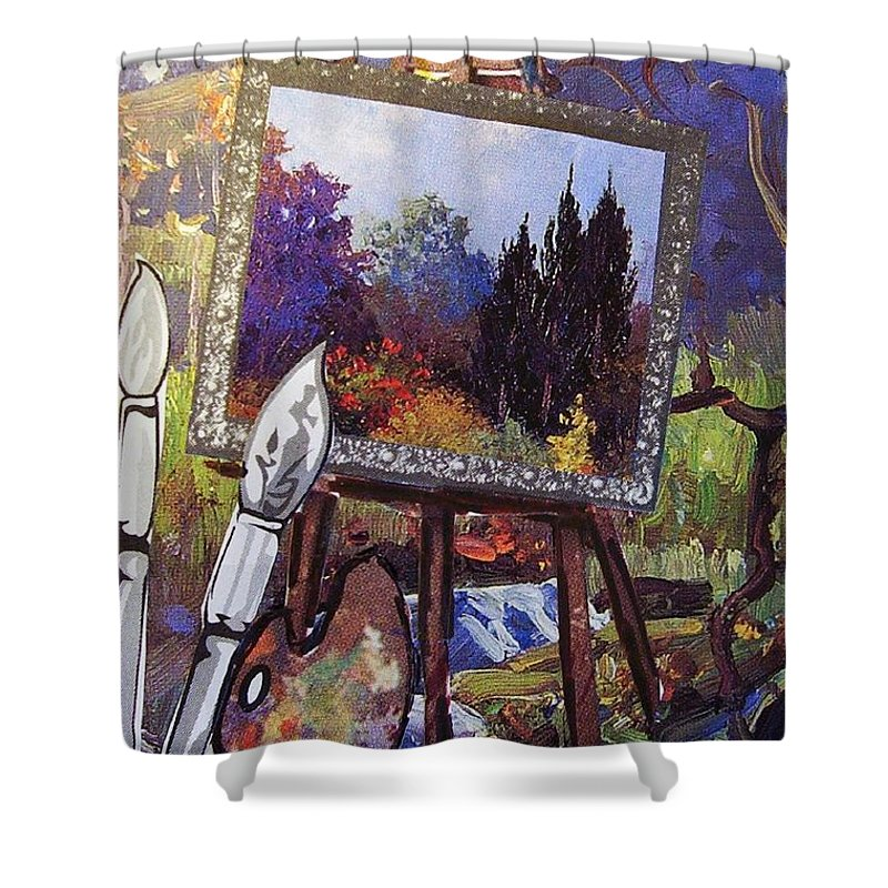 Easel Shower Curtain featuring the painting Put Color In Your Life by Eloise Schneider Mote