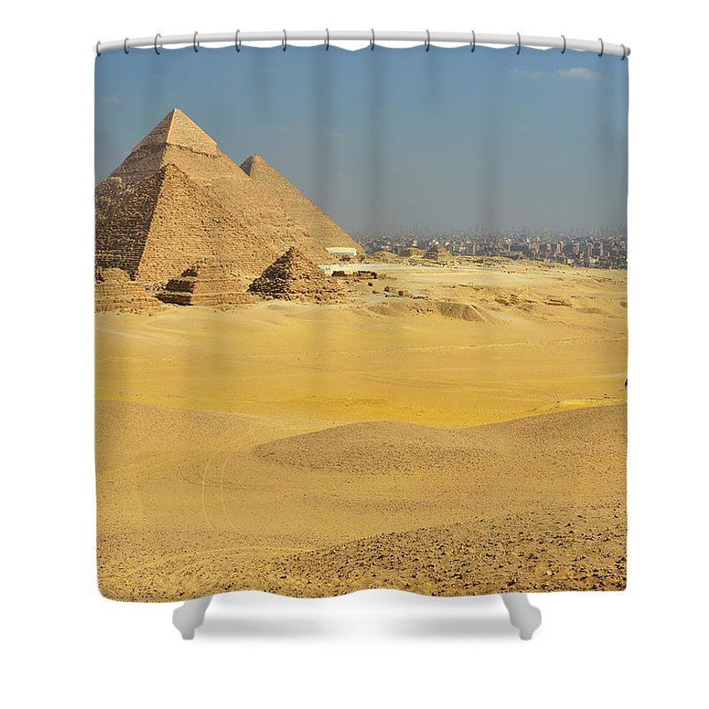 Built Structure Shower Curtain featuring the photograph Pyramids Of Giza by Raimund Linke