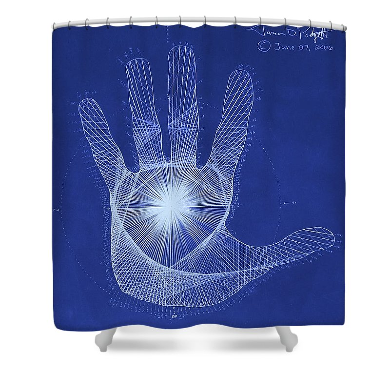Hand Shower Curtain featuring the drawing Quantum Hand Through My Eyes by Jason Padgett