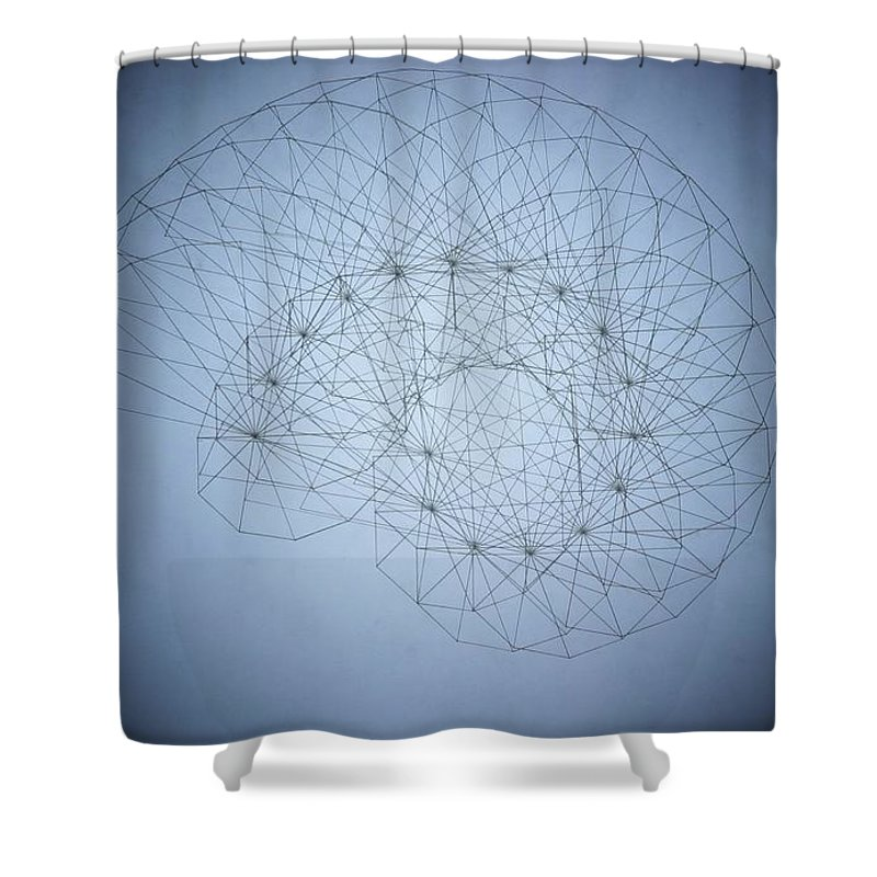Seashell Shower Curtain featuring the drawing Quantum Nautilus Spotlight by Jason Padgett