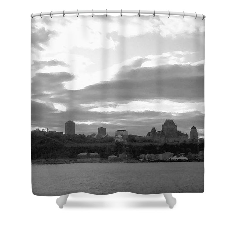 Quebec City Shower Curtain featuring the photograph Quebec City Panorama B N W by Richard Andrews