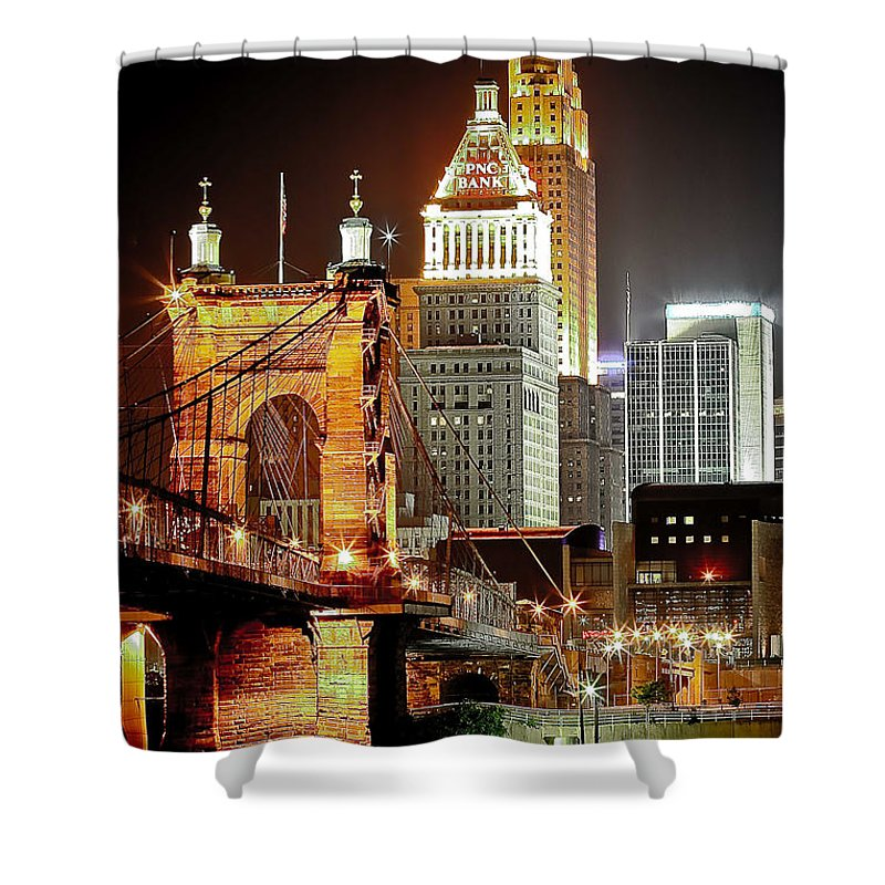 Usa Shower Curtain featuring the photograph Queen City At Night by Keith Allen