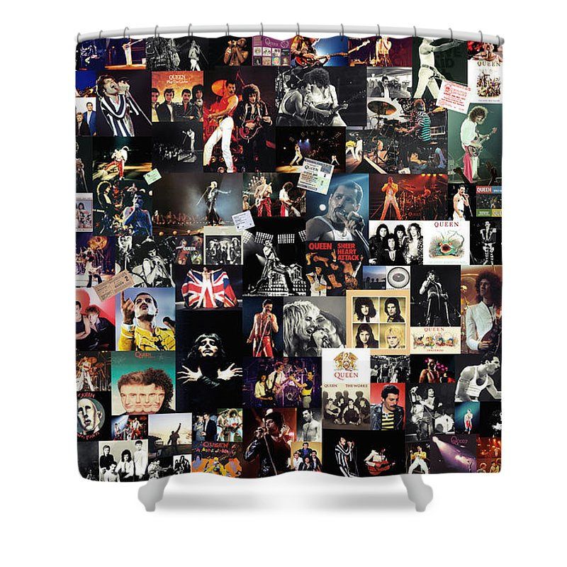 Queen Shower Curtain featuring the digital art Queen Collage by Zapista OU