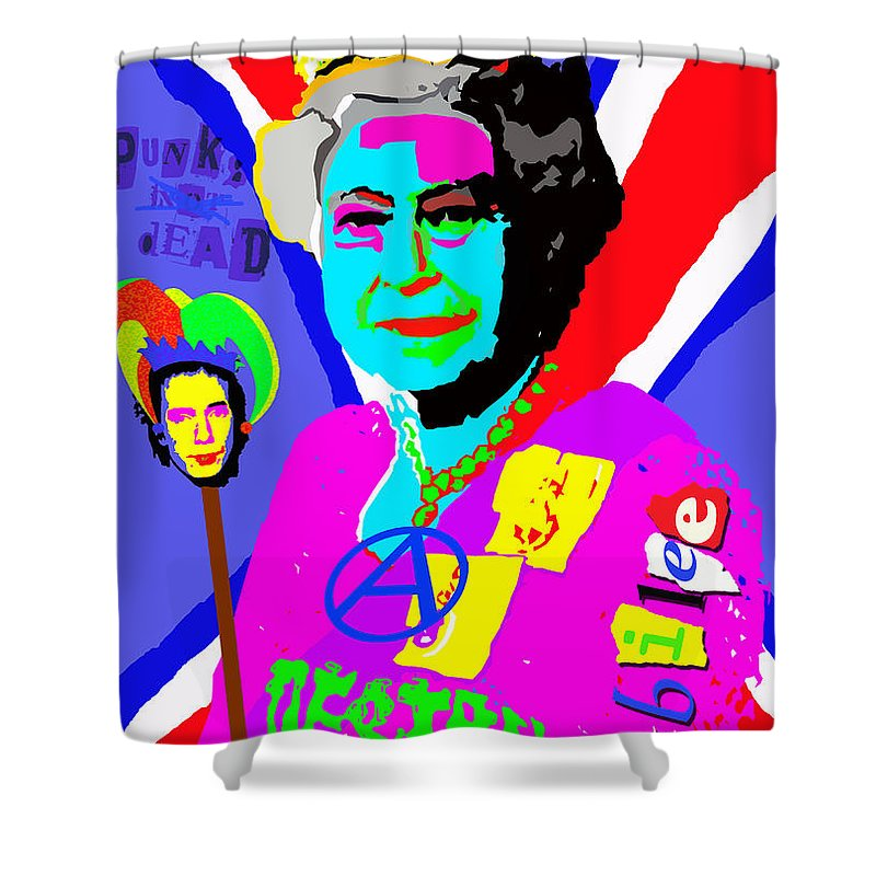 Queen Shower Curtain featuring the painting Queen Destroy by Neil Finnemore