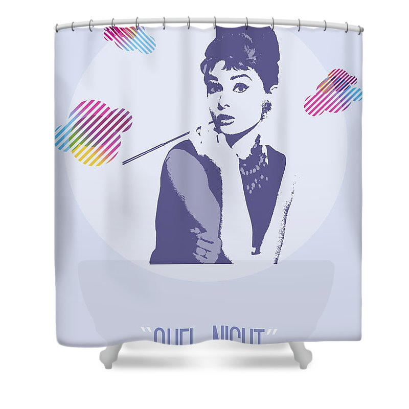 Audrey Hepburn Shower Curtain featuring the painting Quel Night by Florian Rodarte