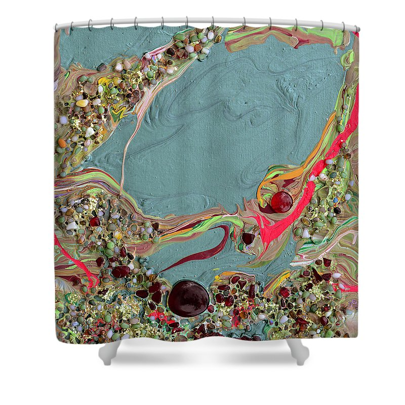 Modern Shower Curtain featuring the mixed media Quest For The Maharaja's Ruby by Donna Blackhall