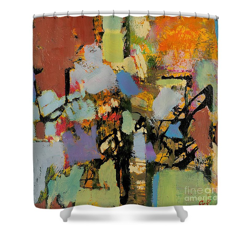 Landscape Shower Curtain featuring the painting Quick Racing by Allan P Friedlander
