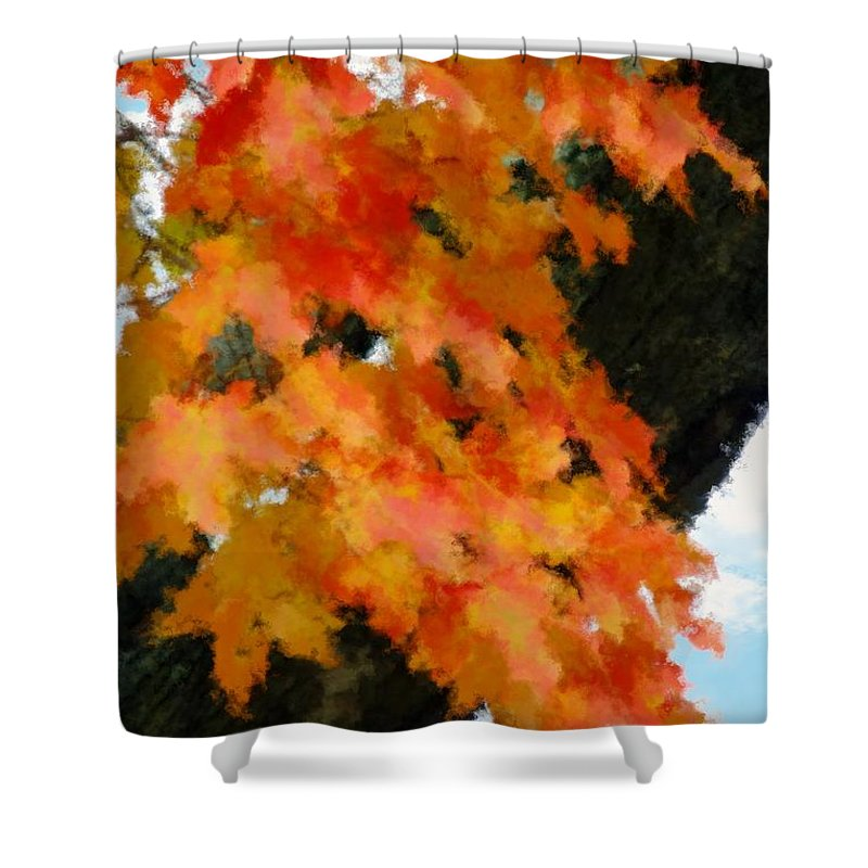 Autumn Shower Curtain featuring the painting Quick Take On Autumn by RC DeWinter