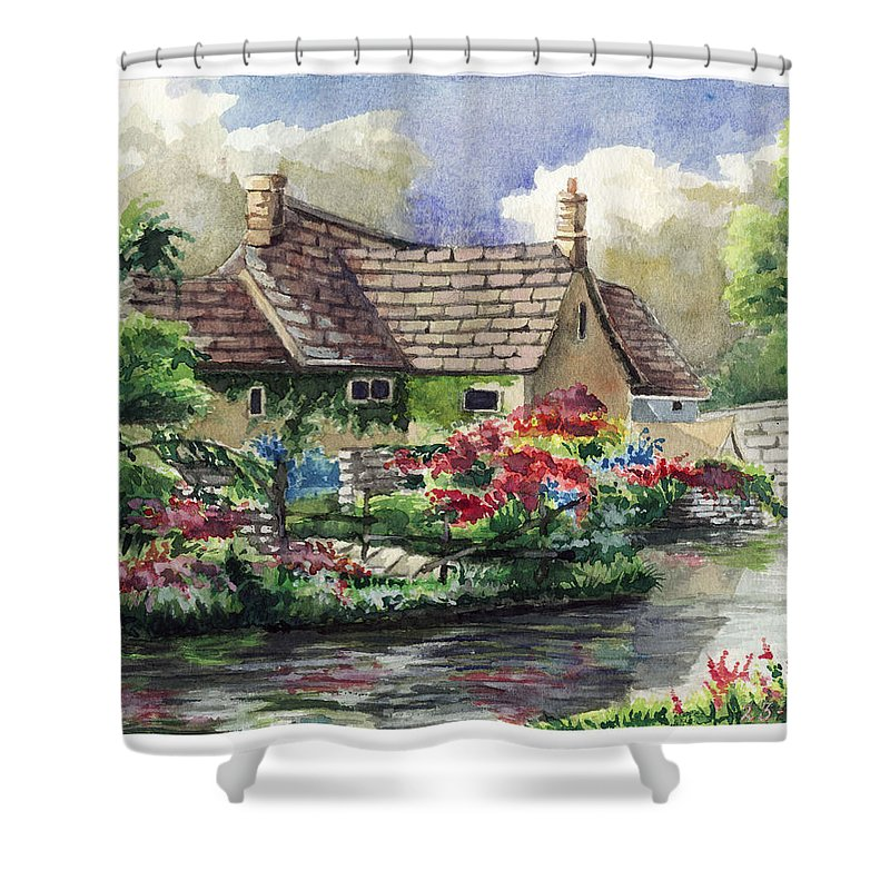 House Shower Curtain featuring the painting Quiet House Along The River by Alban Dizdari
