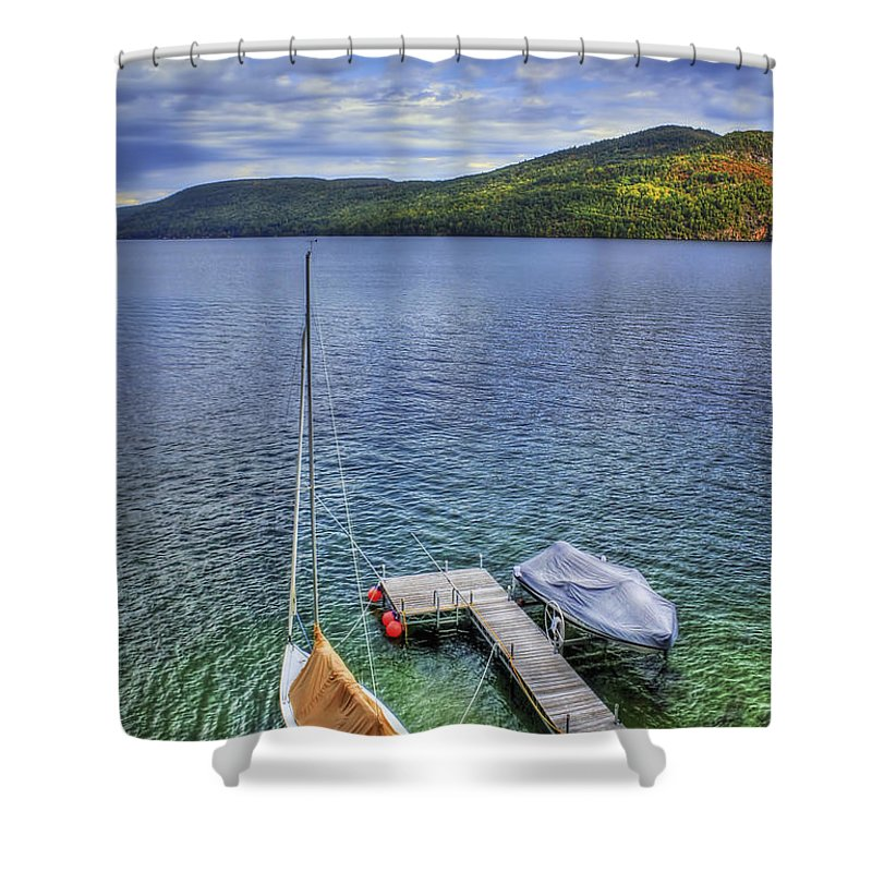 Adirondacks Shower Curtain featuring the photograph Quiet Jetty by Evelina Kremsdorf