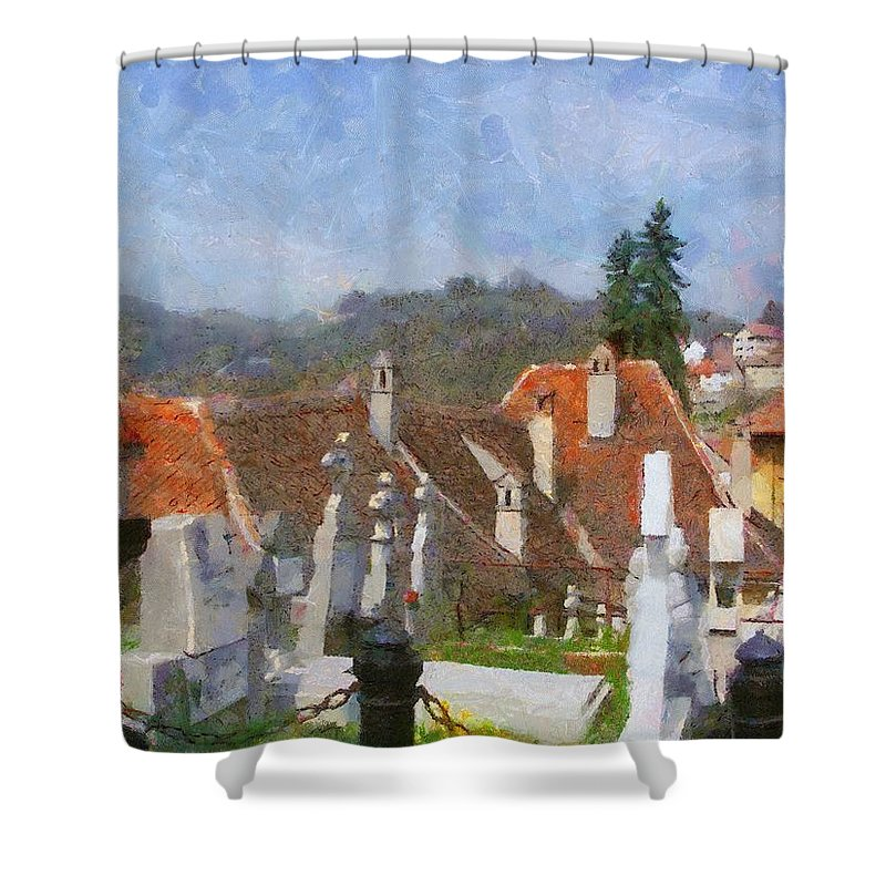 Architecture Shower Curtain featuring the painting Quiet Neighbors by Jeffrey Kolker